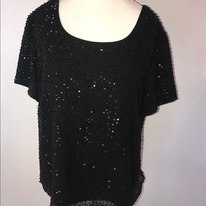 Talbots pure silk sequins blouse top black
